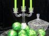 Kerzenleuchter 3armig, Dose und Weihnachtskugeln